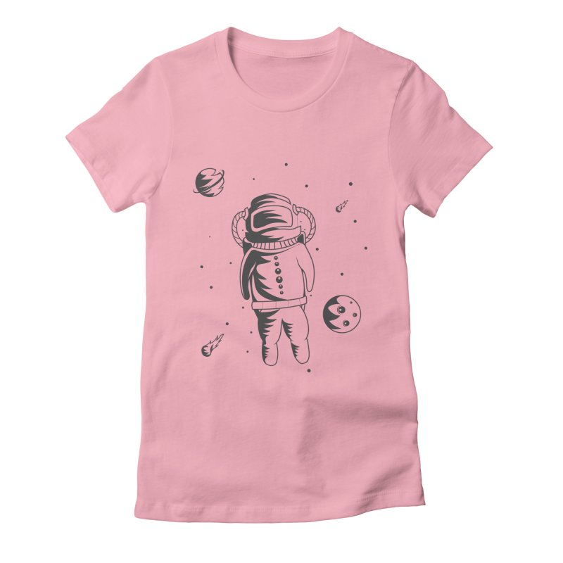 Cosmonaut in Space Women's Fitted T-Shirt by Pbatu's Artist Shop