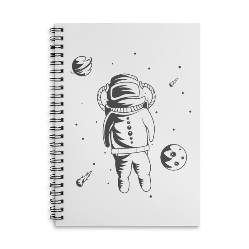 Cosmonaut in Space Accessories Lined Spiral Notebook by Pbatu's Artist Shop