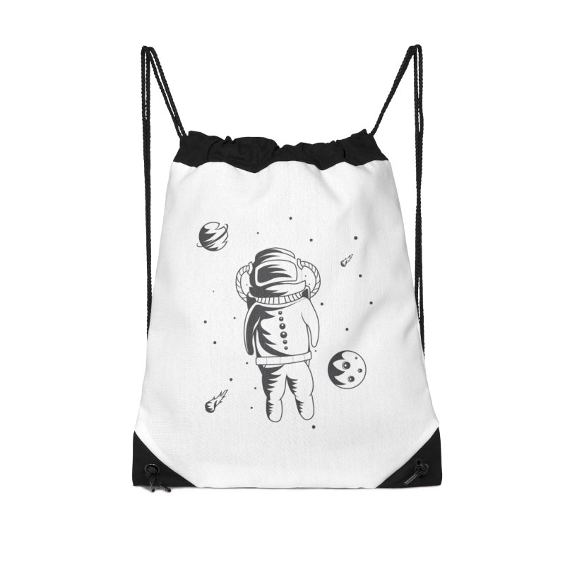 Cosmonaut in Space Accessories Drawstring Bag Bag by Pbatu's Artist Shop