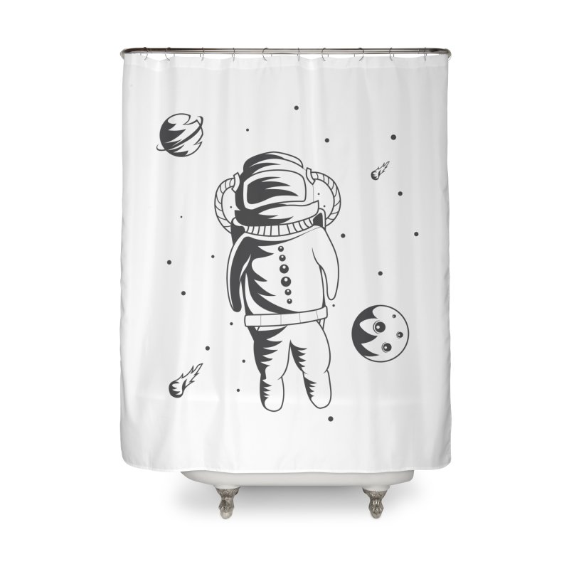 Cosmonaut in Space Home Shower Curtain by Pbatu's Artist Shop