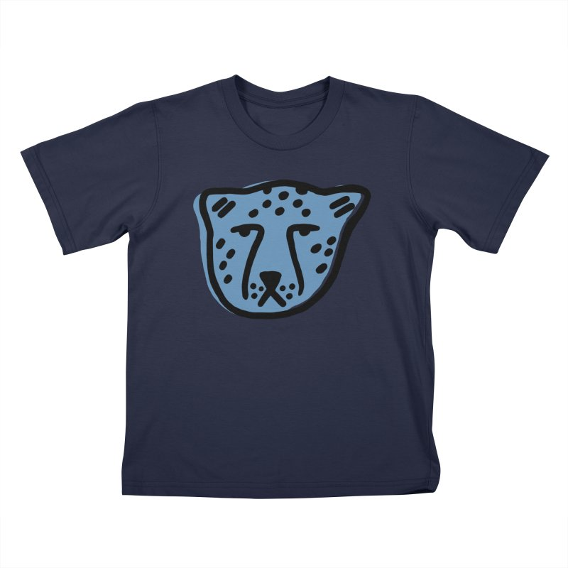 Blue Cheetahs Kids T-Shirt by Peach Things Artist Shop