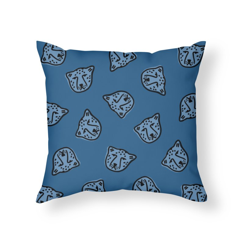 Blue Cheetahs Home Throw Pillow by Peach Things Artist Shop