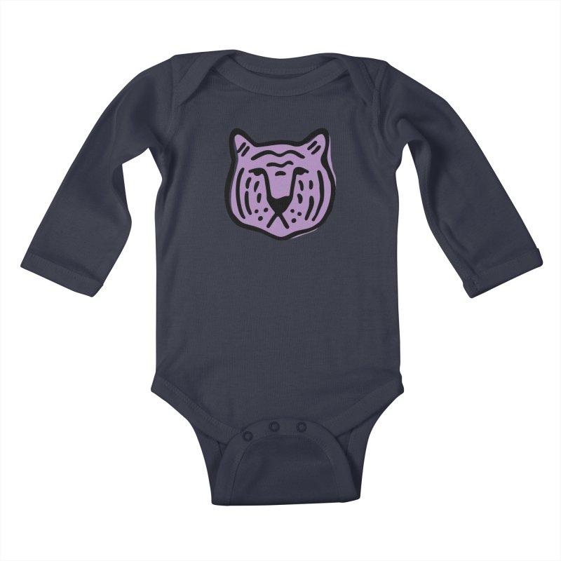 Purple Tigers Kids Baby Longsleeve Bodysuit by Peach Things Artist Shop