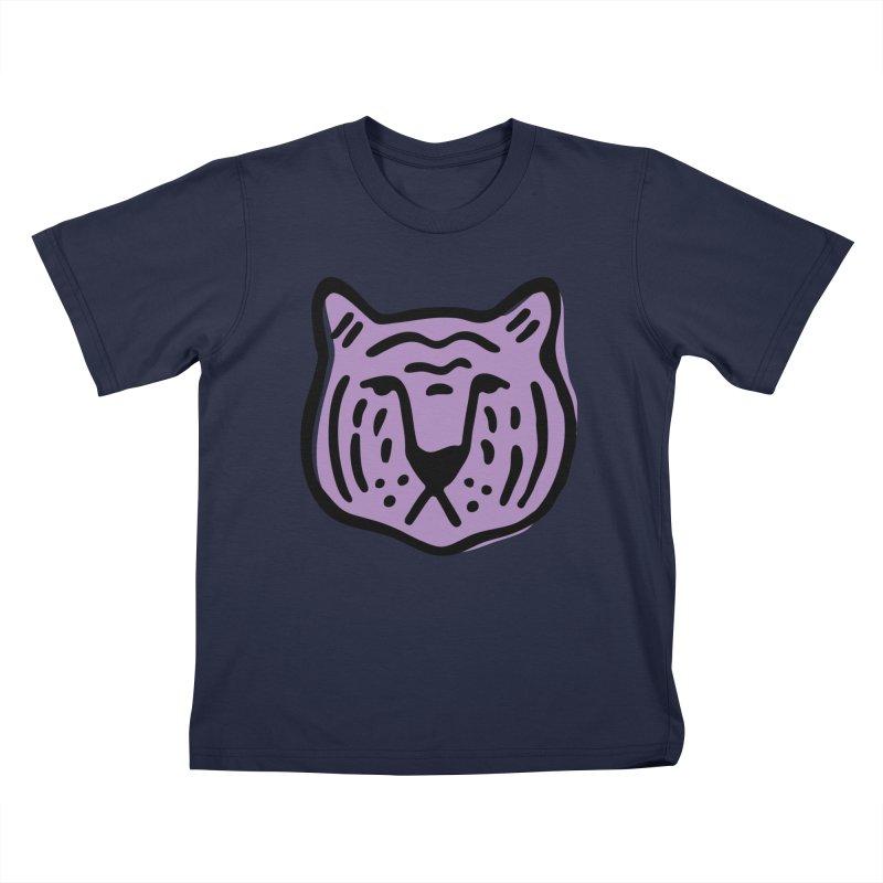 Purple Tigers Kids T-Shirt by Peach Things Artist Shop