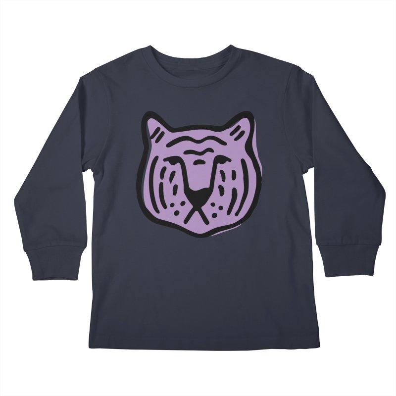 Purple Tigers Kids Longsleeve T-Shirt by Peach Things Artist Shop