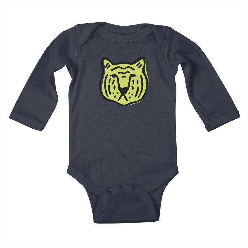Citron Tigers Kids Baby Longsleeve Bodysuit by Peach Things Artist Shop