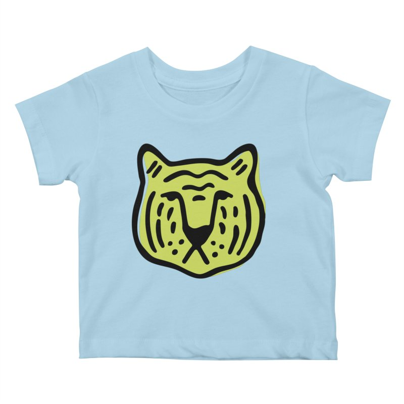 Citron Tigers Kids Baby T-Shirt by Peach Things Artist Shop