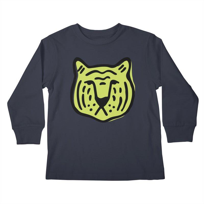 Citron Tigers Kids Longsleeve T-Shirt by Peach Things Artist Shop