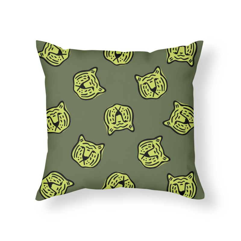 Citron Tigers Home Throw Pillow by Peach Things Artist Shop