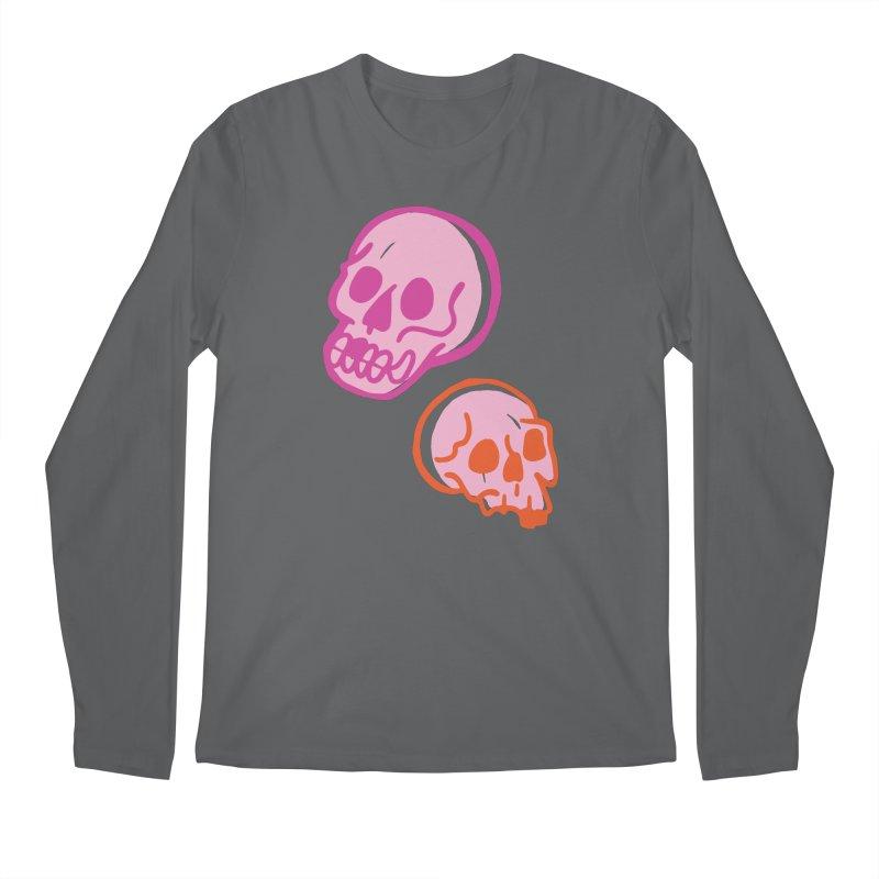 Skulls- Pink and Orange Men's Longsleeve T-Shirt by Peach Things Artist Shop