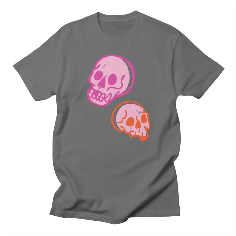 Skulls- Pink and Orange Men's T-Shirt by PeachPrintStudio's Artist Shop