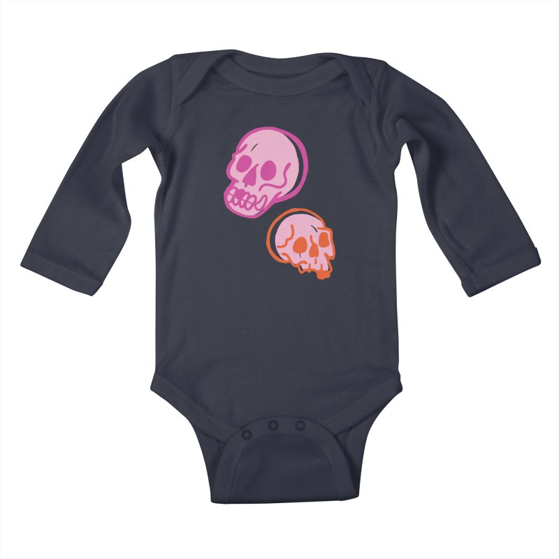 Skulls- Pink and Orange Kids Baby Longsleeve Bodysuit by Peach Things Artist Shop