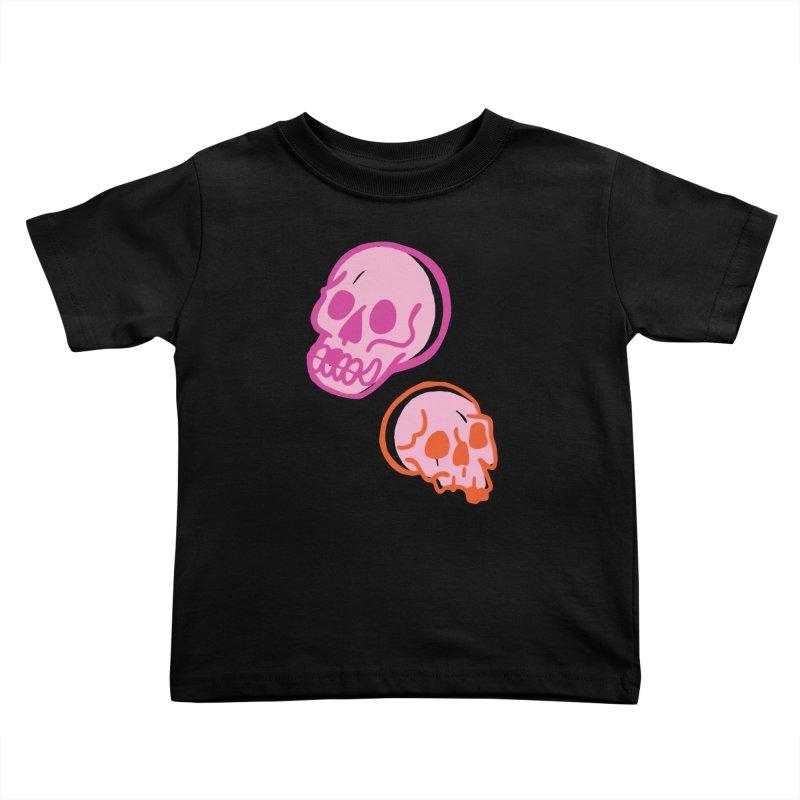 Skulls- Pink and Orange Kids Toddler T-Shirt by Peach Things Artist Shop