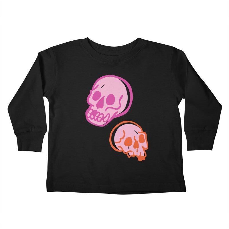 Skulls- Pink and Orange Kids Toddler Longsleeve T-Shirt by Peach Things Artist Shop