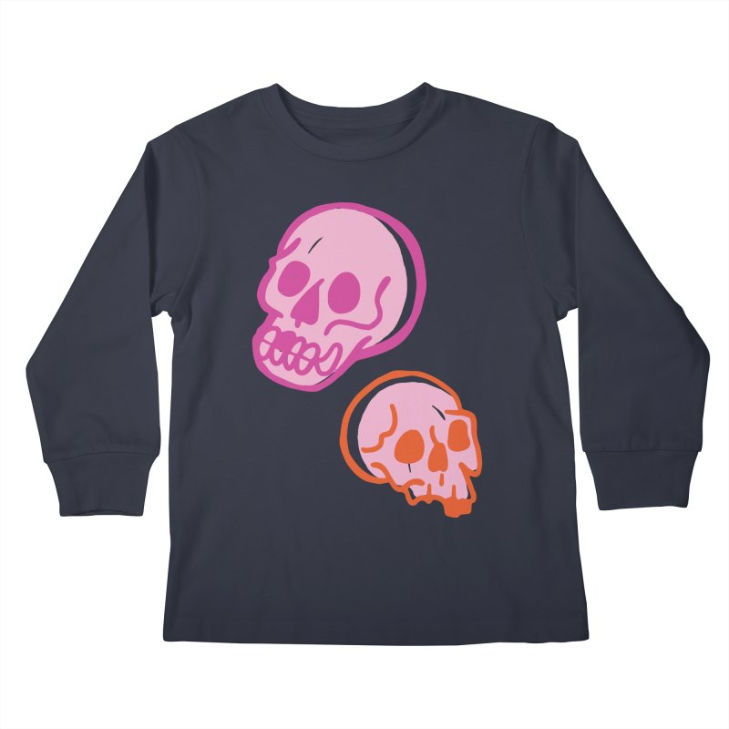 Skulls- Pink and Orange Kids Longsleeve T-Shirt by Peach Things Artist Shop