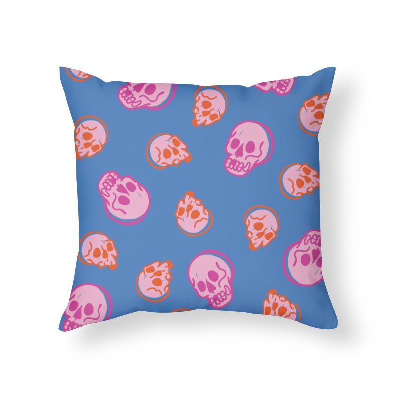 Skulls- Pink and Orange Home Throw Pillow by Peach Things Artist Shop