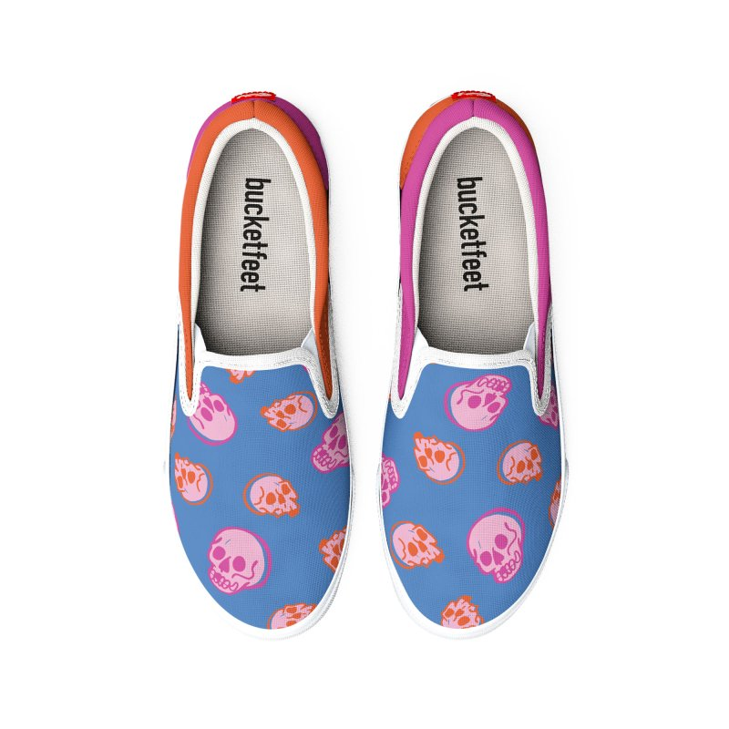 Skulls- Pink and Orange Men's Shoes by Peach Things Artist Shop