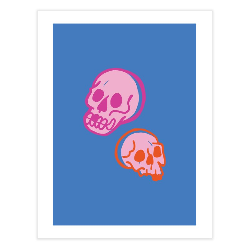 Skulls- Pink and Orange Home Fine Art Print by Peach Things Artist Shop