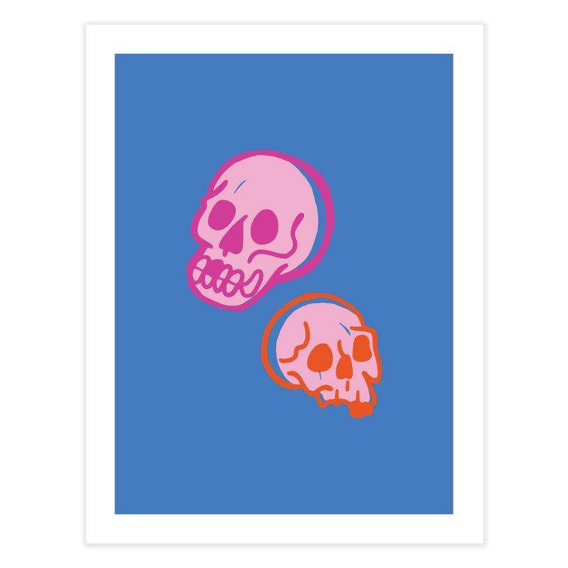 Skulls- Pink and Orange Home Fine Art Print by Peach Things Artist Shop