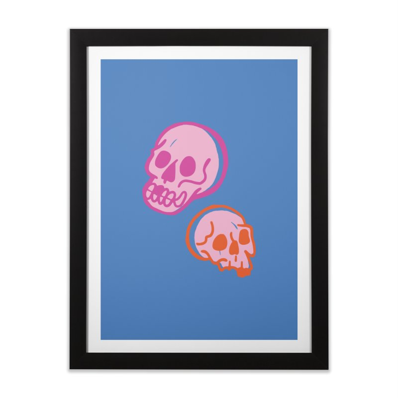 Skulls- Pink and Orange Home Framed Fine Art Print by Peach Things Artist Shop