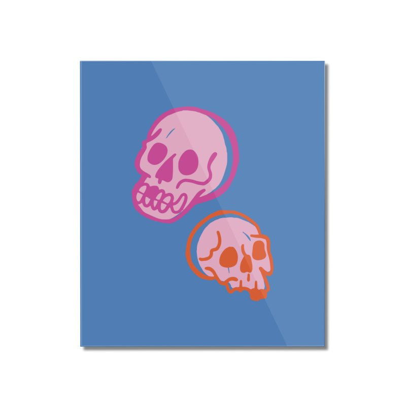 Skulls- Pink and Orange Home Mounted Acrylic Print by Peach Things Artist Shop