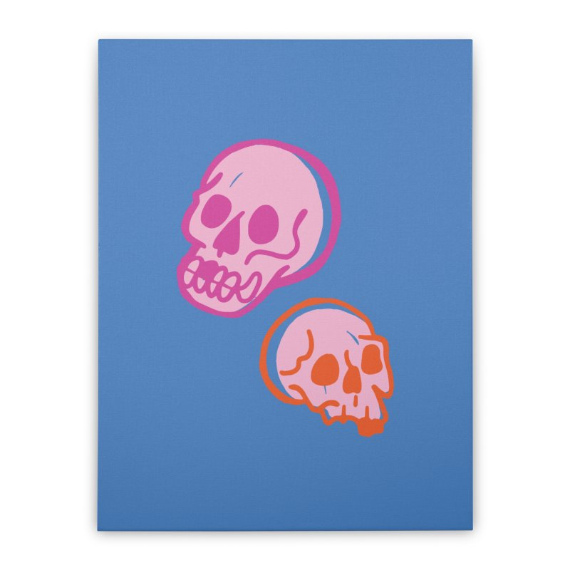Skulls- Pink and Orange Home Stretched Canvas by Peach Things Artist Shop