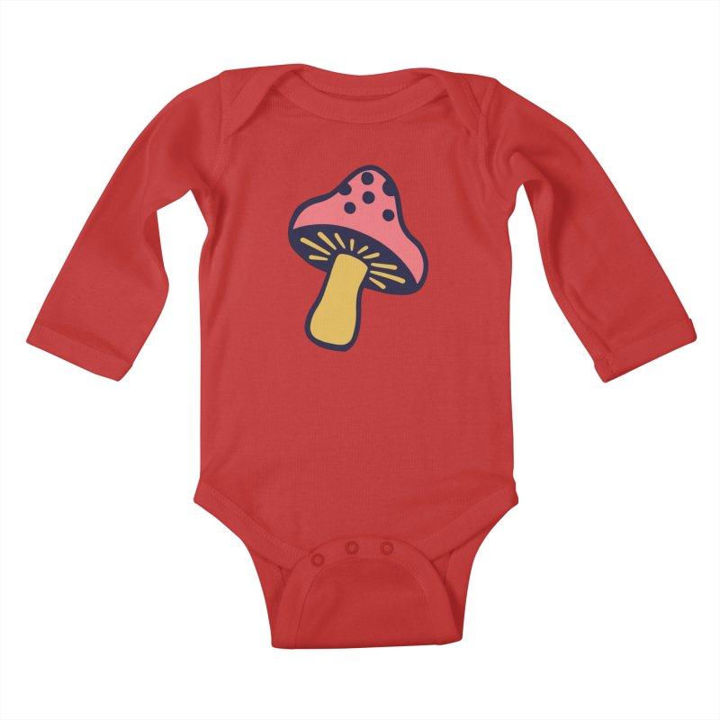 Woodland Toadstool Kids Baby Longsleeve Bodysuit by Peach Things Artist Shop
