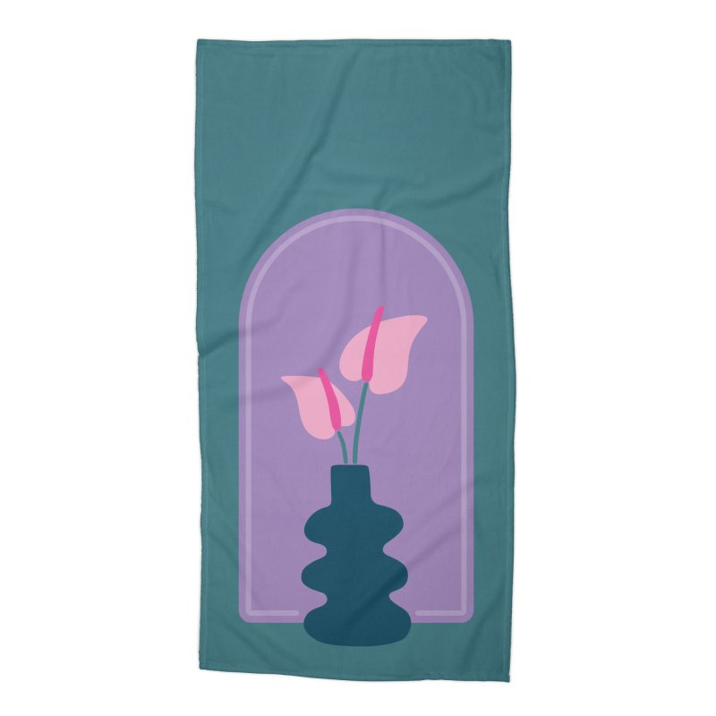 Wiggle Vase Anthurium Accessories Beach Towel by Peach Things Artist Shop