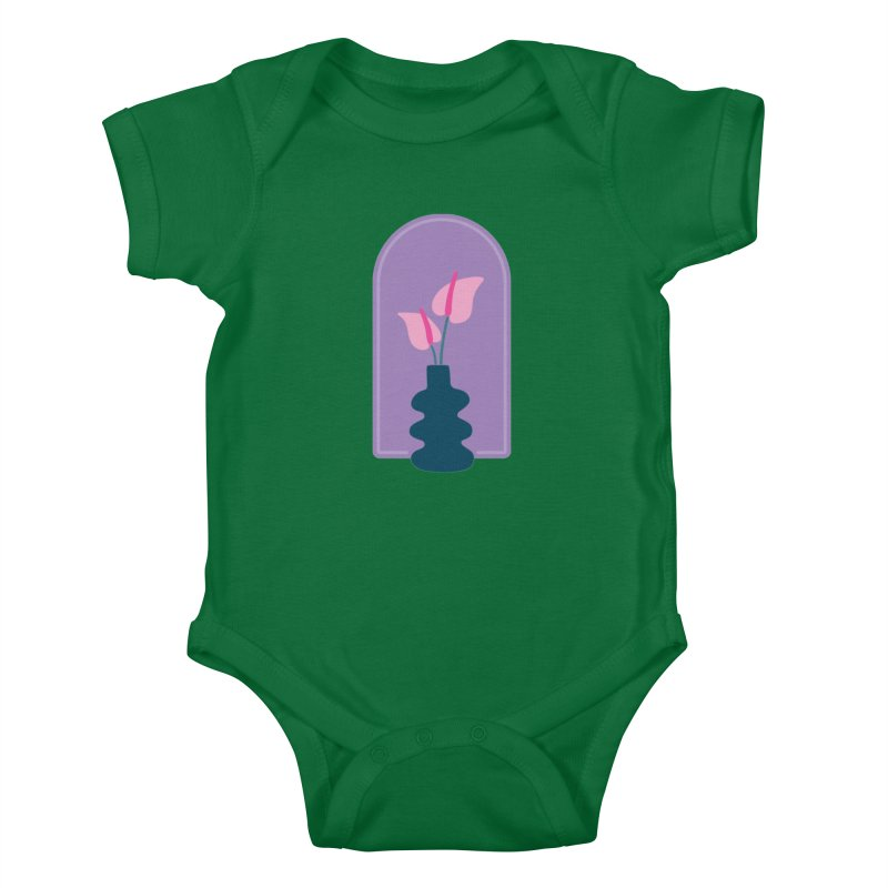 Wiggle Vase Anthurium Kids Baby Bodysuit by Peach Things Artist Shop