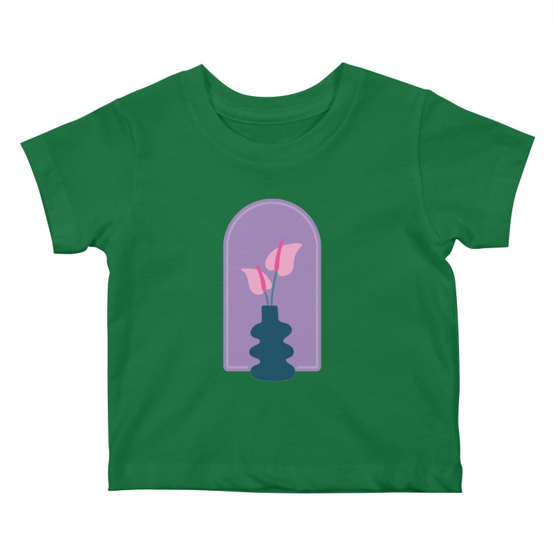 Wiggle Vase Anthurium Kids Baby T-Shirt by Peach Things Artist Shop