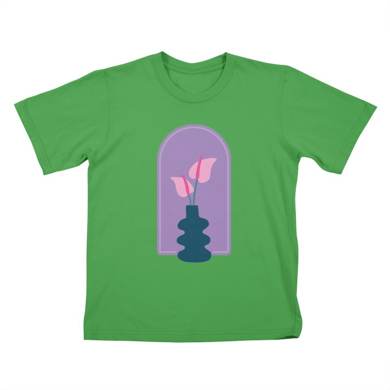 Wiggle Vase Anthurium Kids T-Shirt by Peach Things Artist Shop