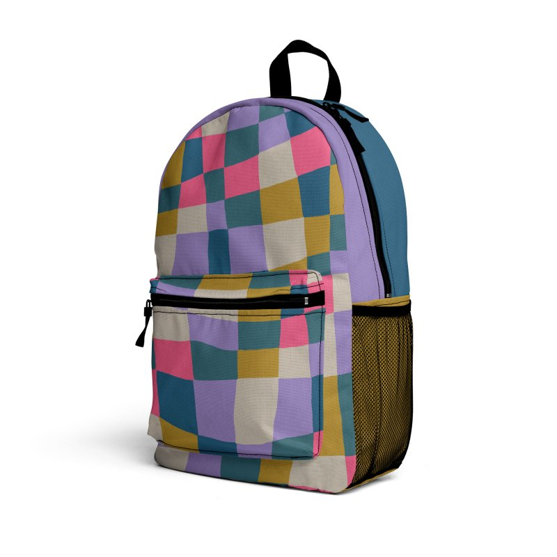 Warped Checkerboard Pink/Mustard/Lavender Accessories Bag by Peach Things Artist Shop