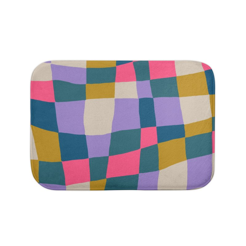 Warped Checkerboard Pink/Mustard/Lavender Home Bath Mat by Peach Things Artist Shop
