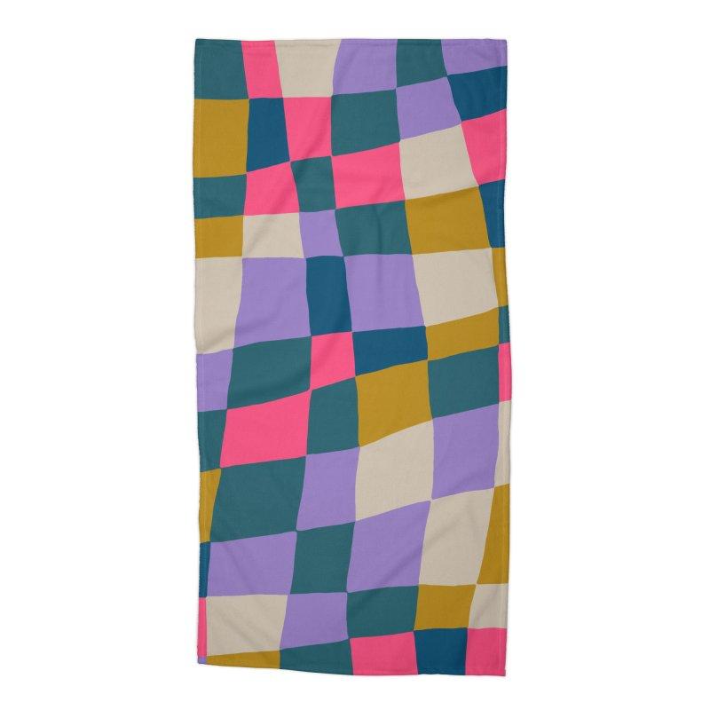 Warped Checkerboard Pink/Mustard/Lavender Accessories Beach Towel by Peach Things Artist Shop