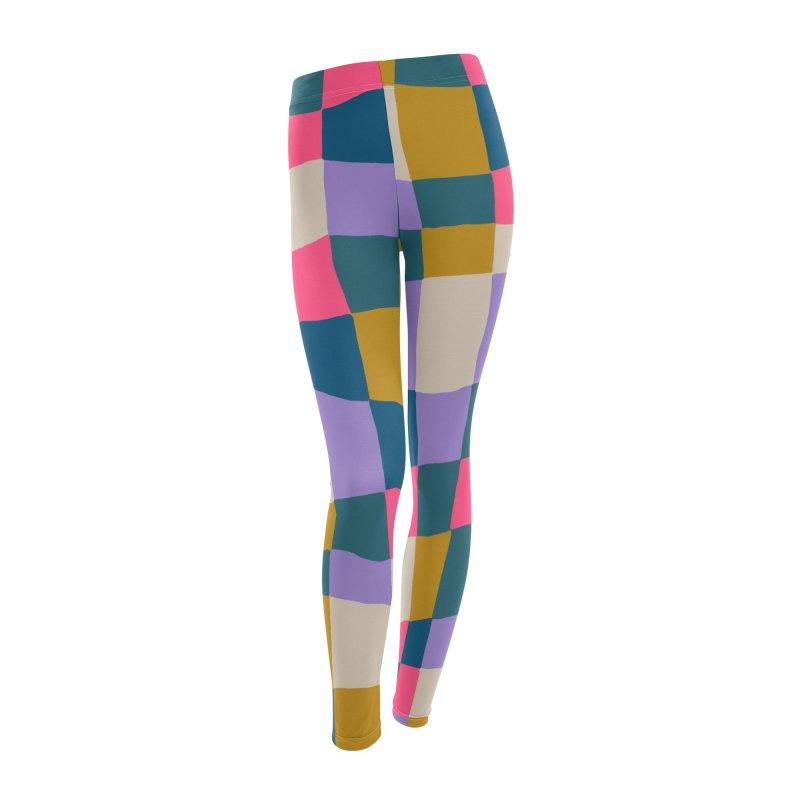 Warped Checkerboard Pink/Mustard/Lavender Women's Bottoms by Peach Things Artist Shop