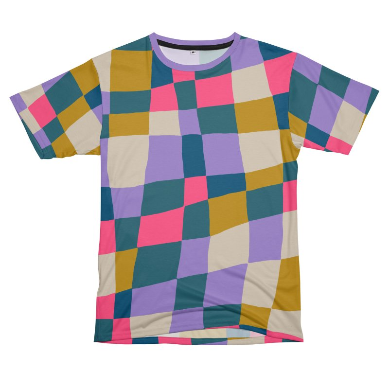 Warped Checkerboard Pink/Mustard/Lavender Men's Cut & Sew by Peach Things Artist Shop