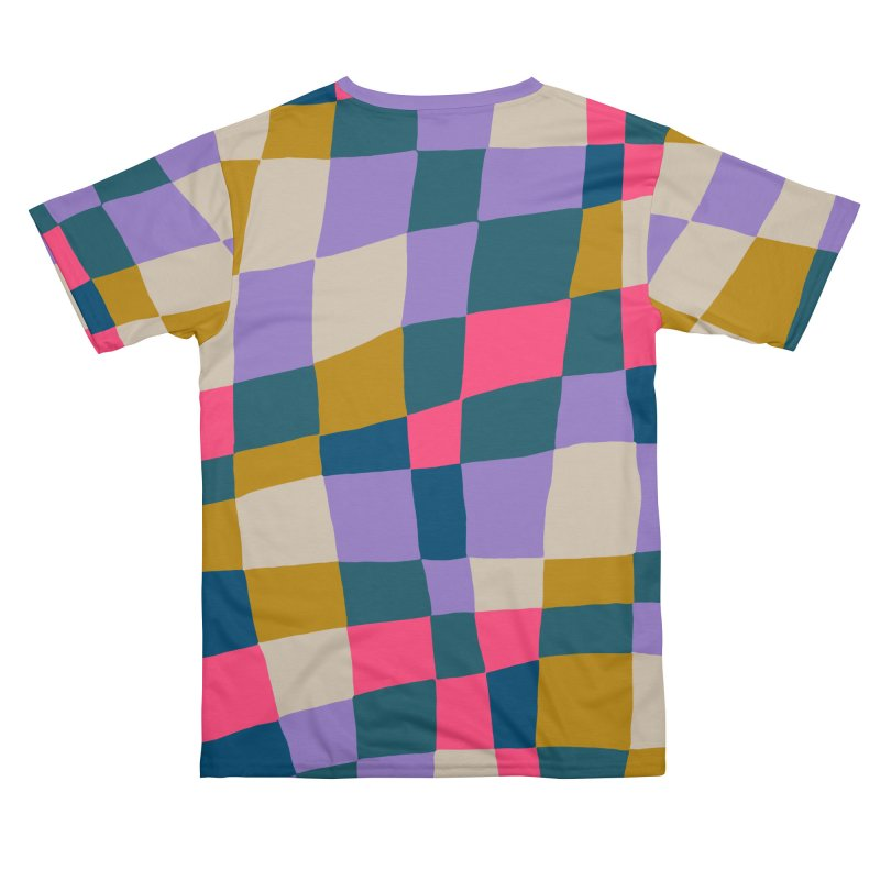 Warped Checkerboard Pink/Mustard/Lavender Men's Cut & Sew by Peach Things Artist Shop