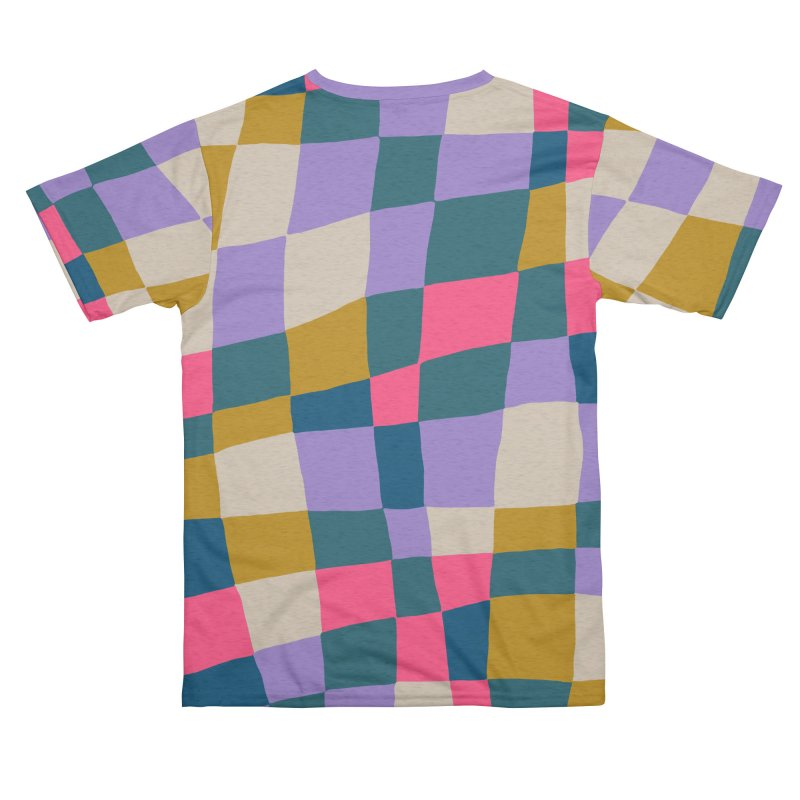 Warped Checkerboard Pink/Mustard/Lavender Women's Cut & Sew by Peach Things Artist Shop