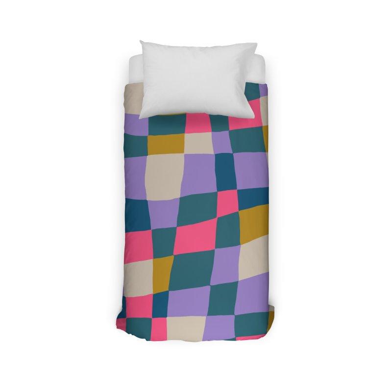 Warped Checkerboard Pink/Mustard/Lavender Home Duvet by Peach Things Artist Shop