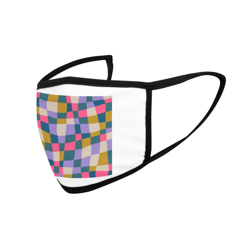 Warped Checkerboard Pink/Mustard/Lavender Accessories Face Mask by Peach Things Artist Shop