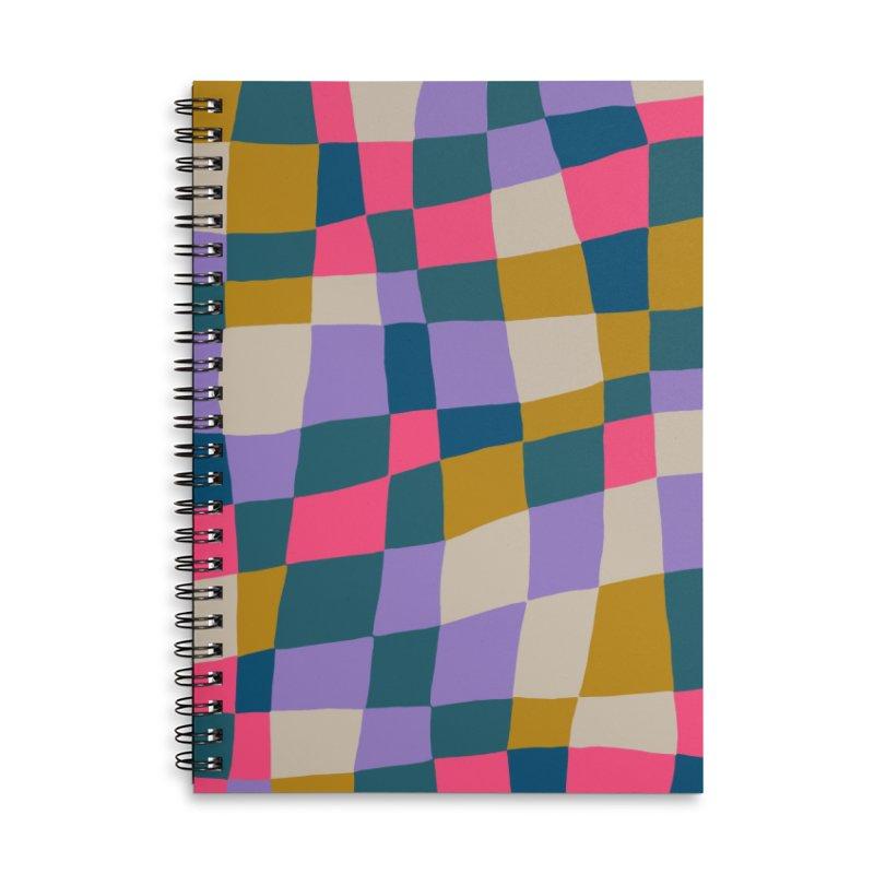 Warped Checkerboard Pink/Mustard/Lavender Accessories Notebook by Peach Things Artist Shop