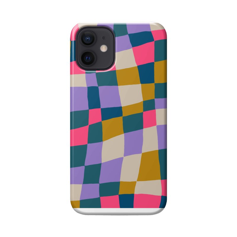 Warped Checkerboard Pink/Mustard/Lavender Accessories Phone Case by Peach Things Artist Shop