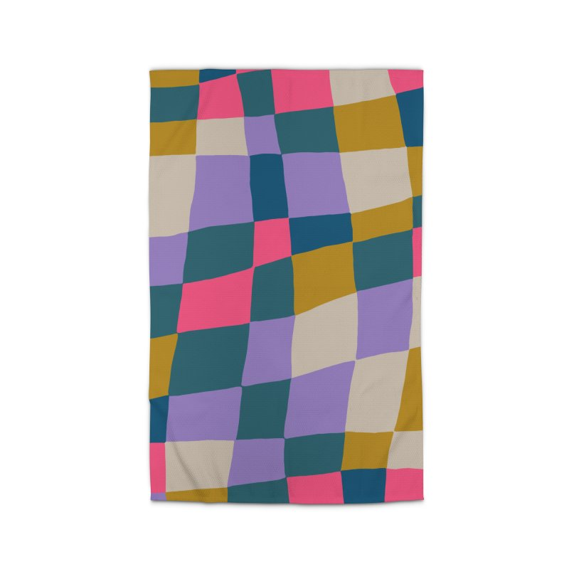 Warped Checkerboard Pink/Mustard/Lavender Home Rug by Peach Things Artist Shop