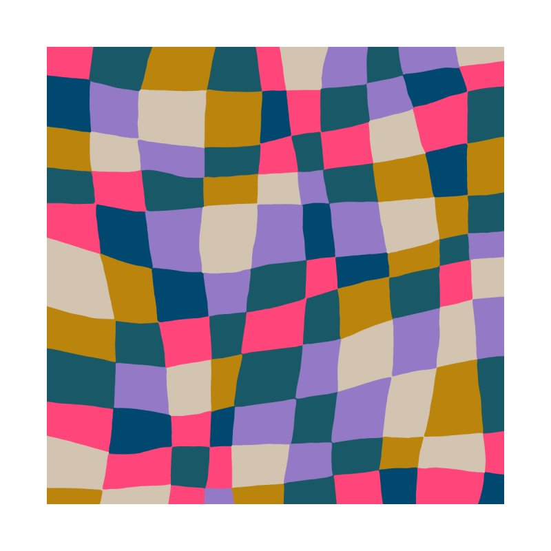 Warped Checkerboard Pink/Mustard/Lavender Home Duvet by Peach Things Artist Shop