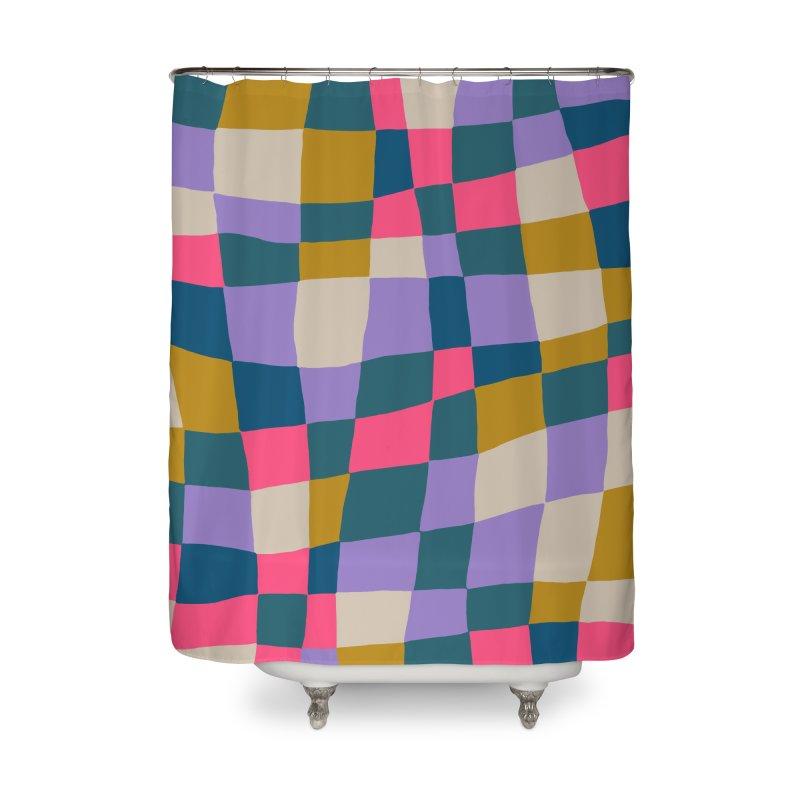 Warped Checkerboard Pink/Mustard/Lavender Home Shower Curtain by Peach Things Artist Shop