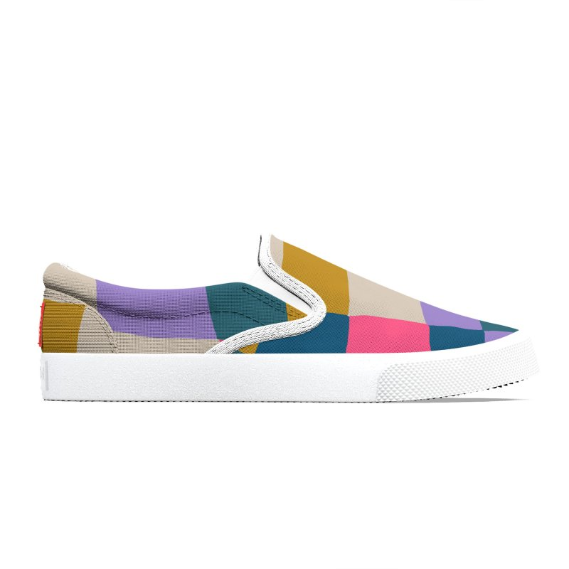 Warped Checkerboard Pink/Mustard/Lavender Men's Shoes by Peach Things Artist Shop