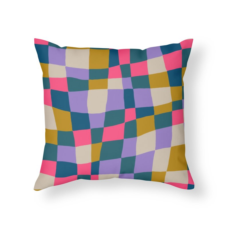 Warped Checkerboard Pink/Mustard/Lavender Home Throw Pillow by Peach Things Artist Shop