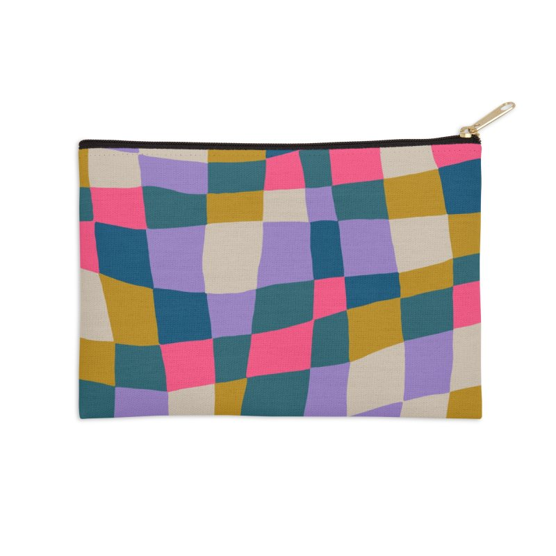 Warped Checkerboard Pink/Mustard/Lavender Accessories Zip Pouch by Peach Things Artist Shop