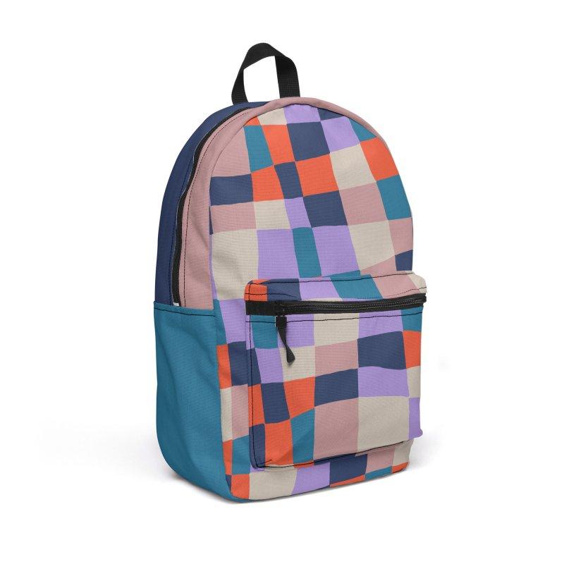 Warped Checkerboard Orange/Blush/Navy Accessories Bag by Peach Things Artist Shop