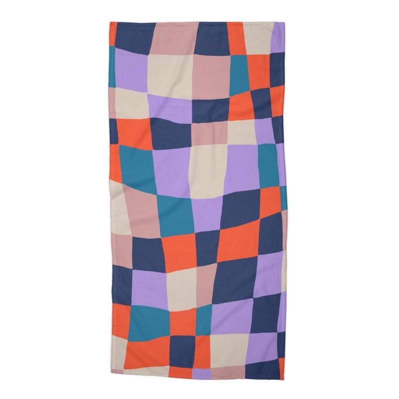 Warped Checkerboard Orange/Blush/Navy Accessories Beach Towel by Peach Things Artist Shop